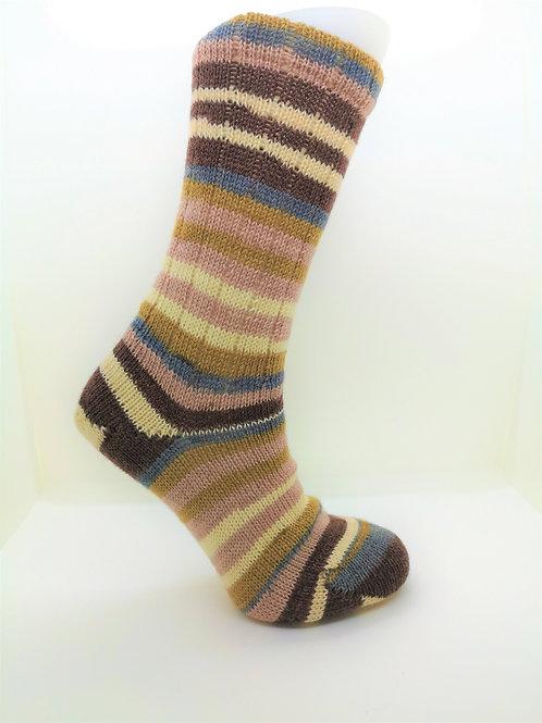 Striped Brown Handcranked Socks