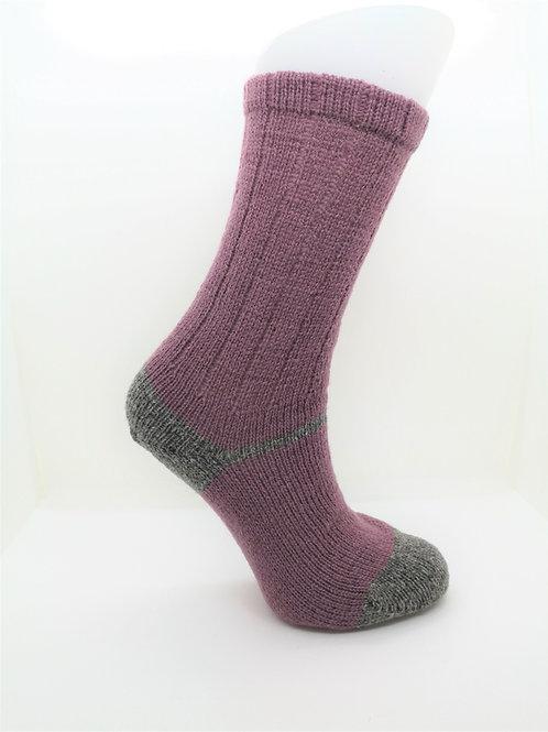 100% Pure Shetland Wool Socks - Cyclamen Purple with Grey