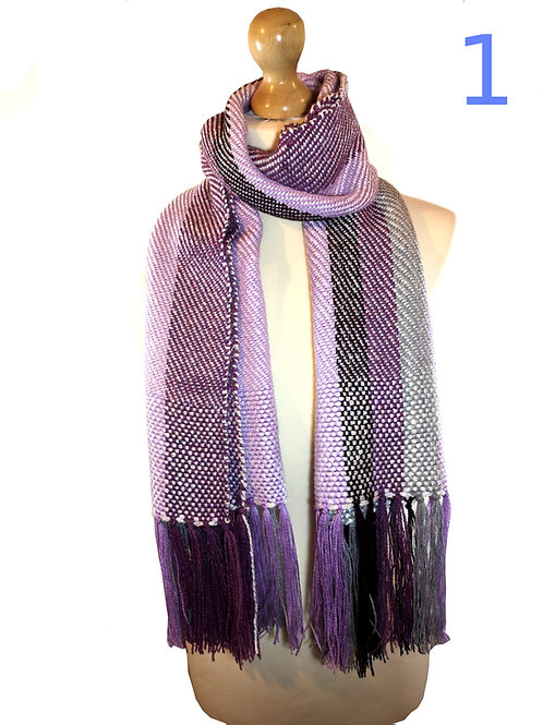 Handwoven Purple and Grey Scarves
