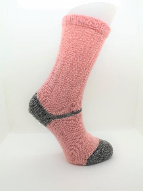 100% Pure Shetland Wool Socks - Blossom Pink with Grey