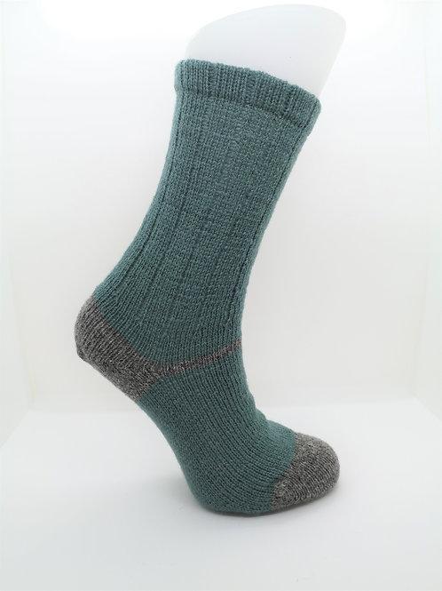 100% Pure Shetland Wool Socks - Eucalyptus Green with Grey