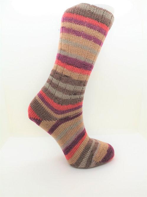 Striped Brown & Pink Handcranked Socks