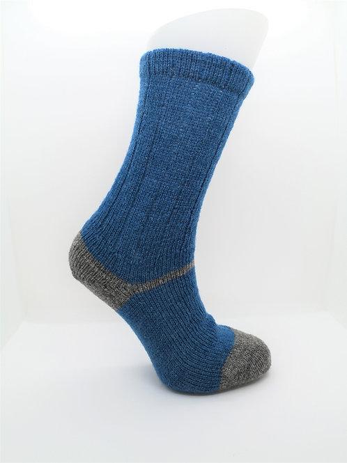 100% Pure Shetland Wool Socks - Sapphire Blue with Grey