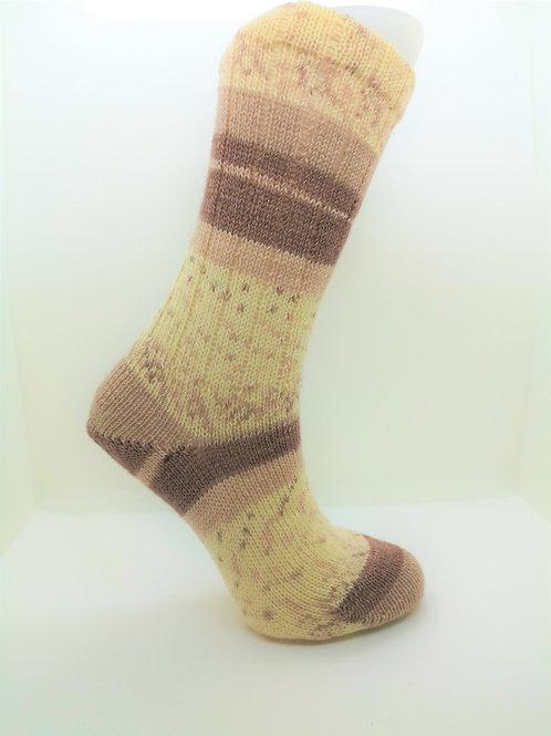 Wide Stripes Brown Handcranked Socks