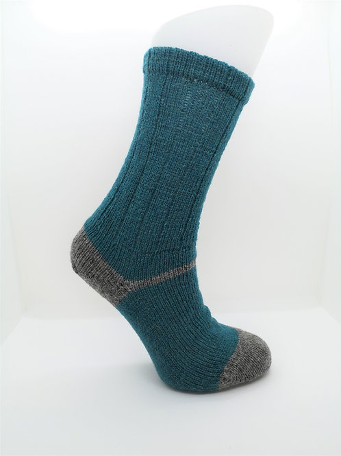 100% Pure Shetland Wool Socks - Mermaid Blue with Grey