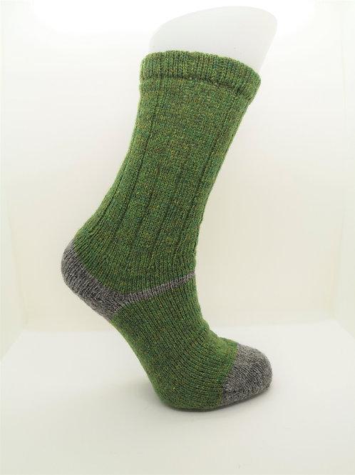 100% Pure Shetland Wool Socks - Lepruchaun Green with Grey