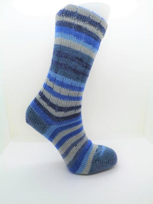 Striped Blue Handcranked Socks
