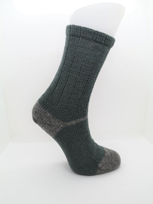 100% Pure Shetland Wool Socks - Sage Green with Grey