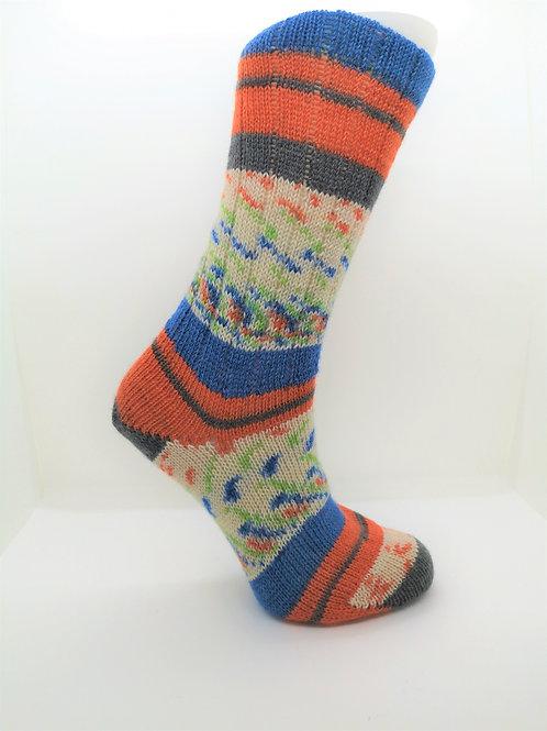 Wide Stripes Blue & Orange Handcranked Socks