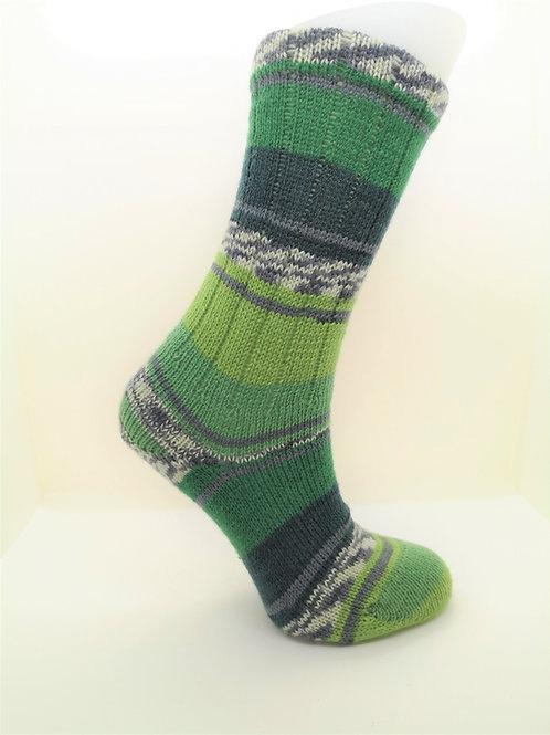Fairisle Green Handcranked Socks