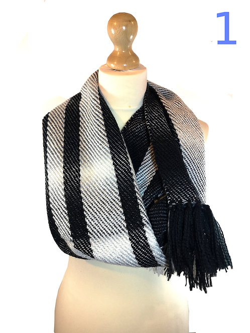 Handwoven Black and White Cowls