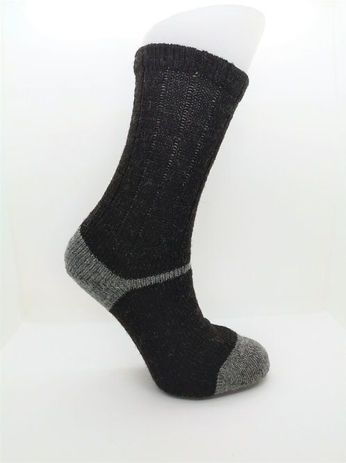 100% Pure Shetland Wool Socks - Natural Black with Grey