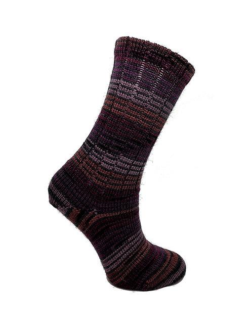 Thin Striped Purple Handcranked Socks