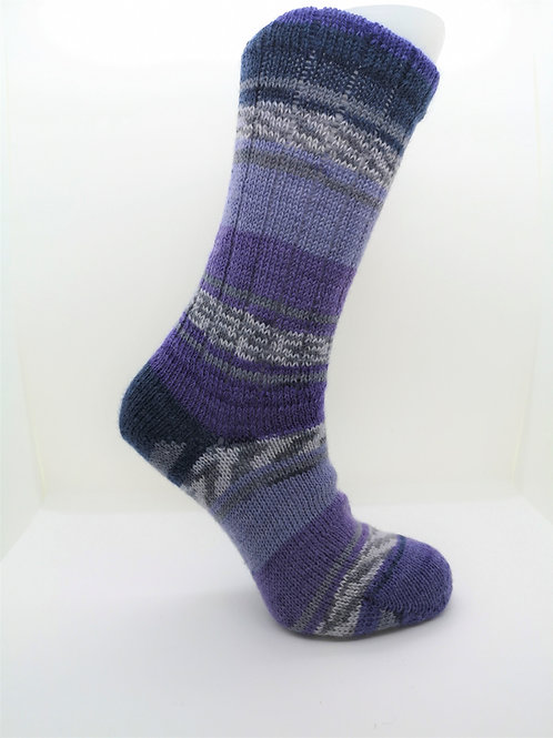 Fairisle Purple Handcranked Socks