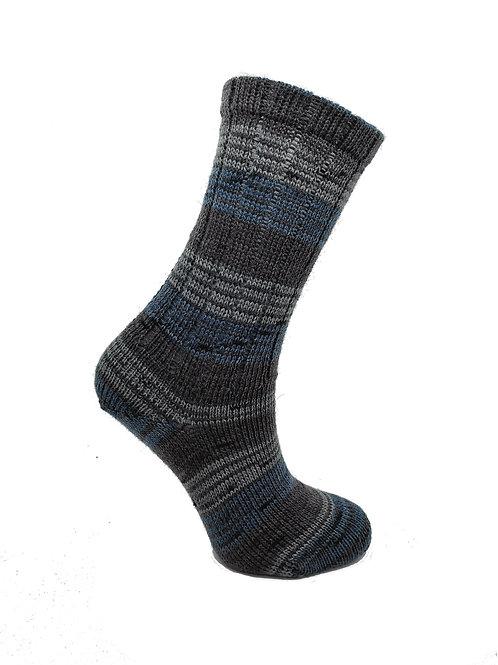 Thin Striped Blue & Grey Handcranked Socks