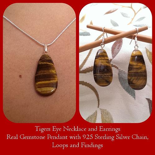Tiger Eye Teardrop Pendant & Earrings