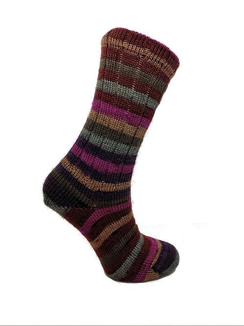 Striped Purple, Pink & Green Handcranked Socks