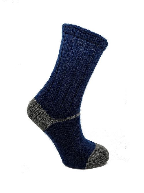 100% Pure Shetland Wool Socks - Cobalt Blue with Grey