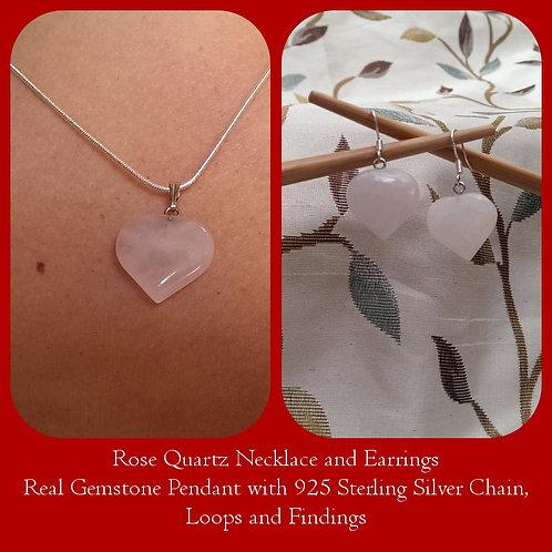 Rose Quartz Heart Pendant & Earrings