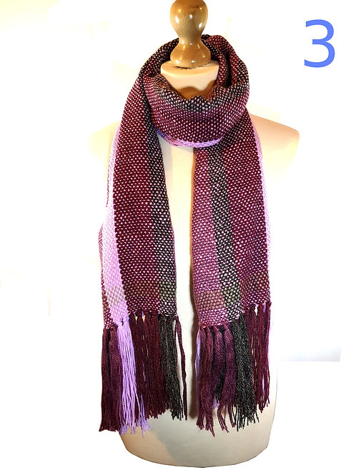 Handwoven Pink and Purple Mohair Scarves