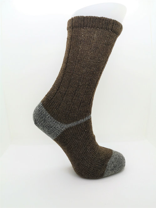 100% Pure Shetland Wool Socks - Natural Moorit Brown with Grey