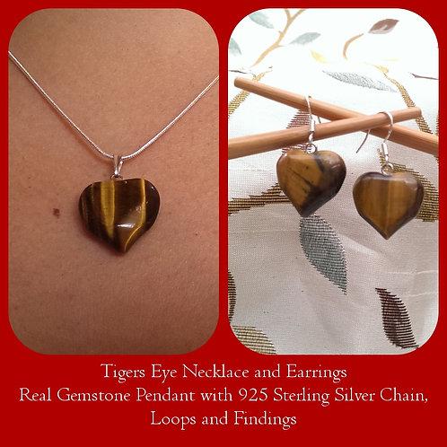 Tiger Eye Heart Pendant & Earrings