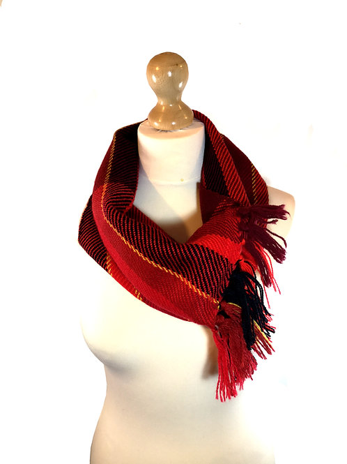 Handwoven Red and Black Cowl