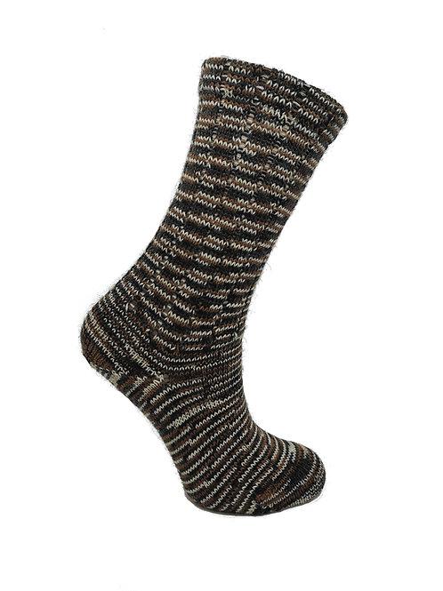 Thin Striped Brown & Black Handcranked Socks