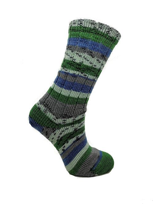 Green & Blue Handcranked Socks