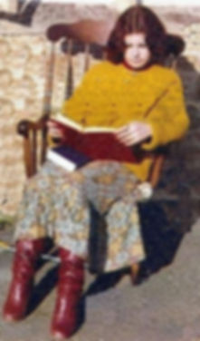 Colette at fifteen in the garden writting poetry memories photograph when I was fifteen Paddock Close Corsham Wiltshire