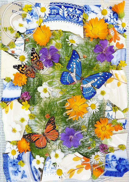 mixed media butterfly collage flower and butterfly print Monarch butterfly art Amazon Blue butterfly artwork Butterfly wall art vintage china butterflies decories