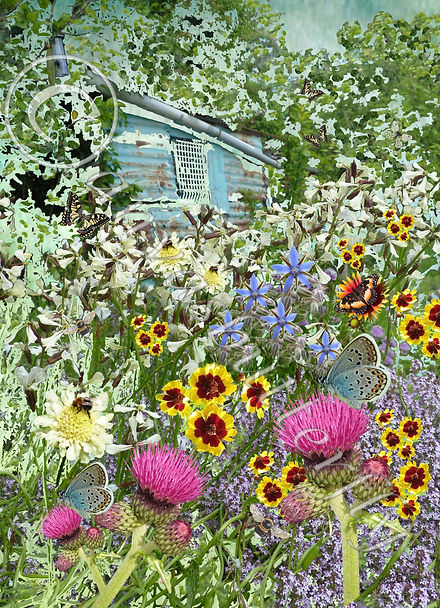 Mixed media artwork print Allotment garden painting allotment garden print
