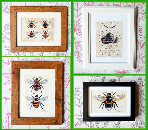 Paintings of bees and bumblebees, bee quote bee wall art