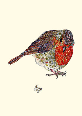 Robin artwork Bird wall art ird painting bird doodle Robin doodle Robin design