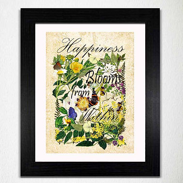 Happiness Quote Happiness Wall Art Happiness Decor Botanical wall art quote print