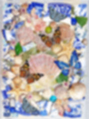 Scallop shell artwork SAtarfish art Cockle shell art broken blue and white china art blue and white vintage china collage butterfly and shell wall art
