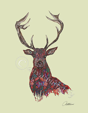 Stag Paintimg Stag wall art Stag artwork Stag Botanical print Stag doodle design Red Stag deer art Antler Painting Stag wall art Stag decor