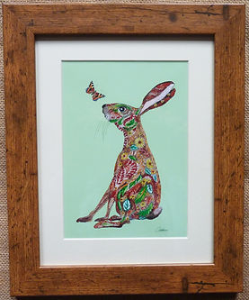 Hare Doodle wall art Hare painting Hare Print Kids wall art hare Nursery Art