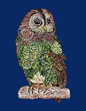 Owl artwork owl art owl original owl painting kids wall art Nursery Wall Art Nursery themed wall art Tawney Owl Doodle Tawney Owl orignal artwork Botanical Owl Art Owl Art Kids Bedroom Decr