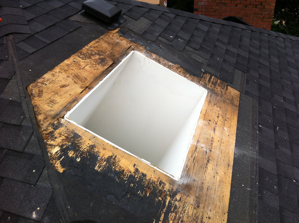 Skylight, Shingles, Curb, and Drywall Removed