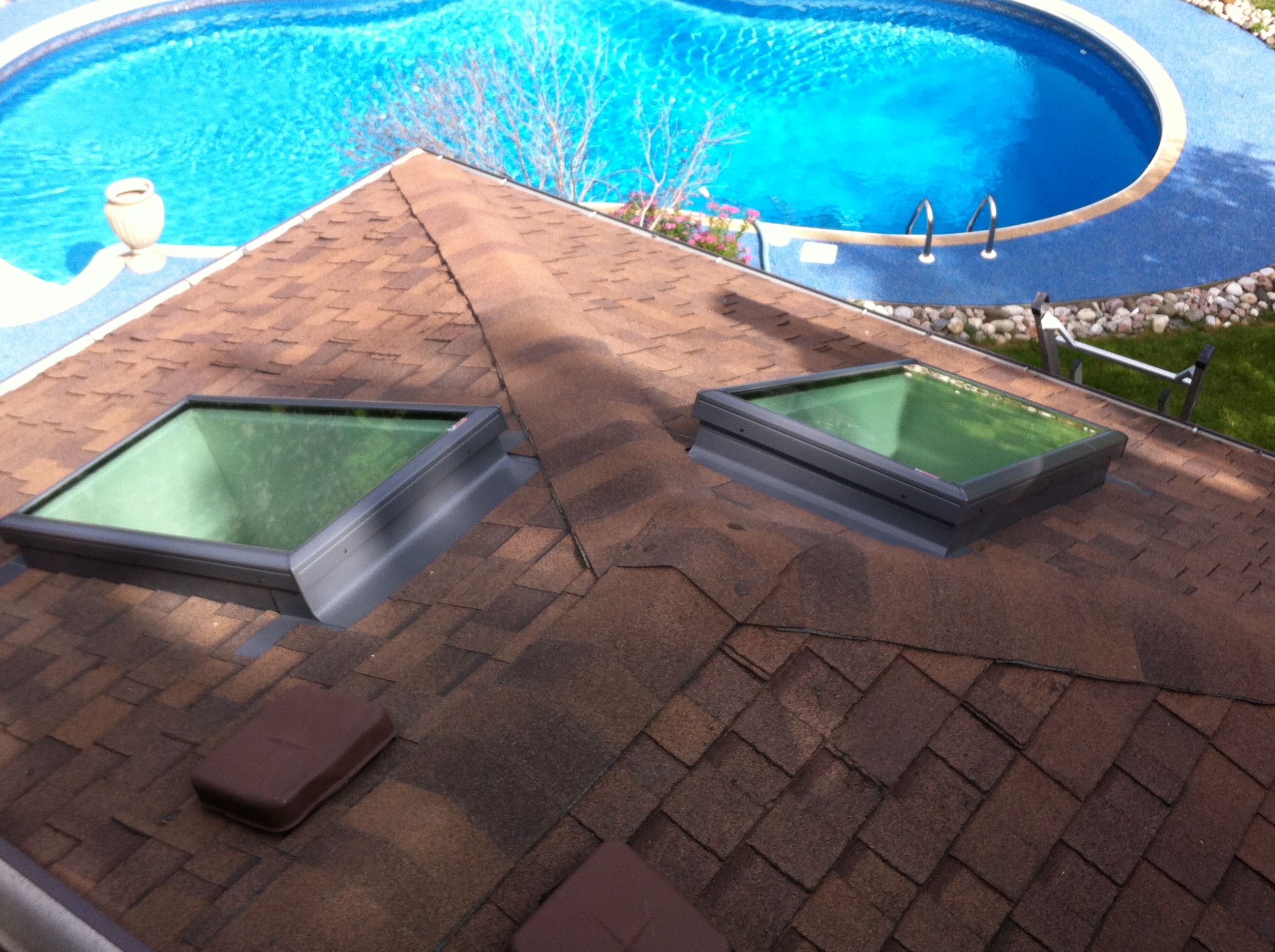 Two Velux Curb Mount Skylights