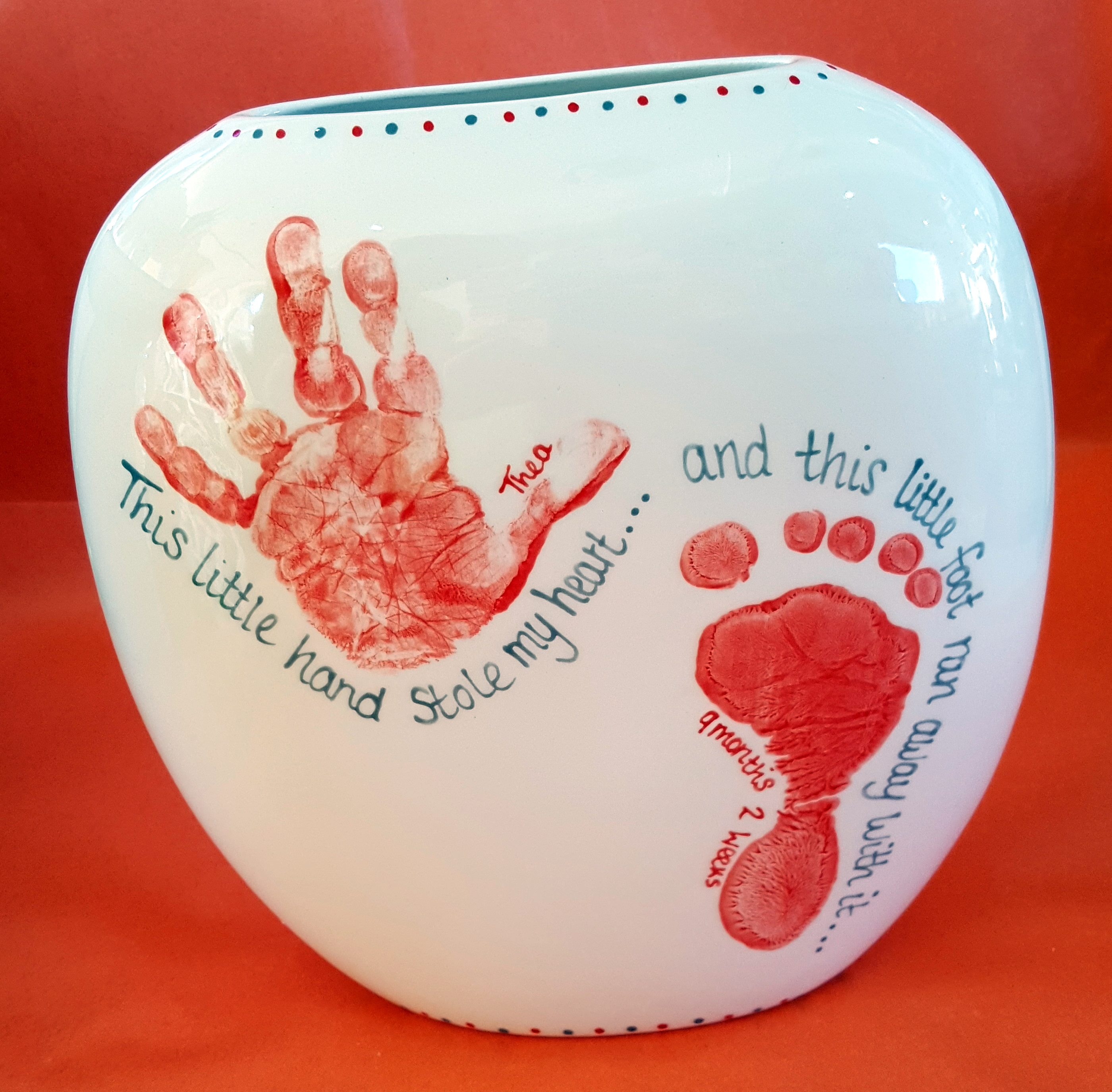This little hand stole my heart - this little foot ran away with it - Vase
