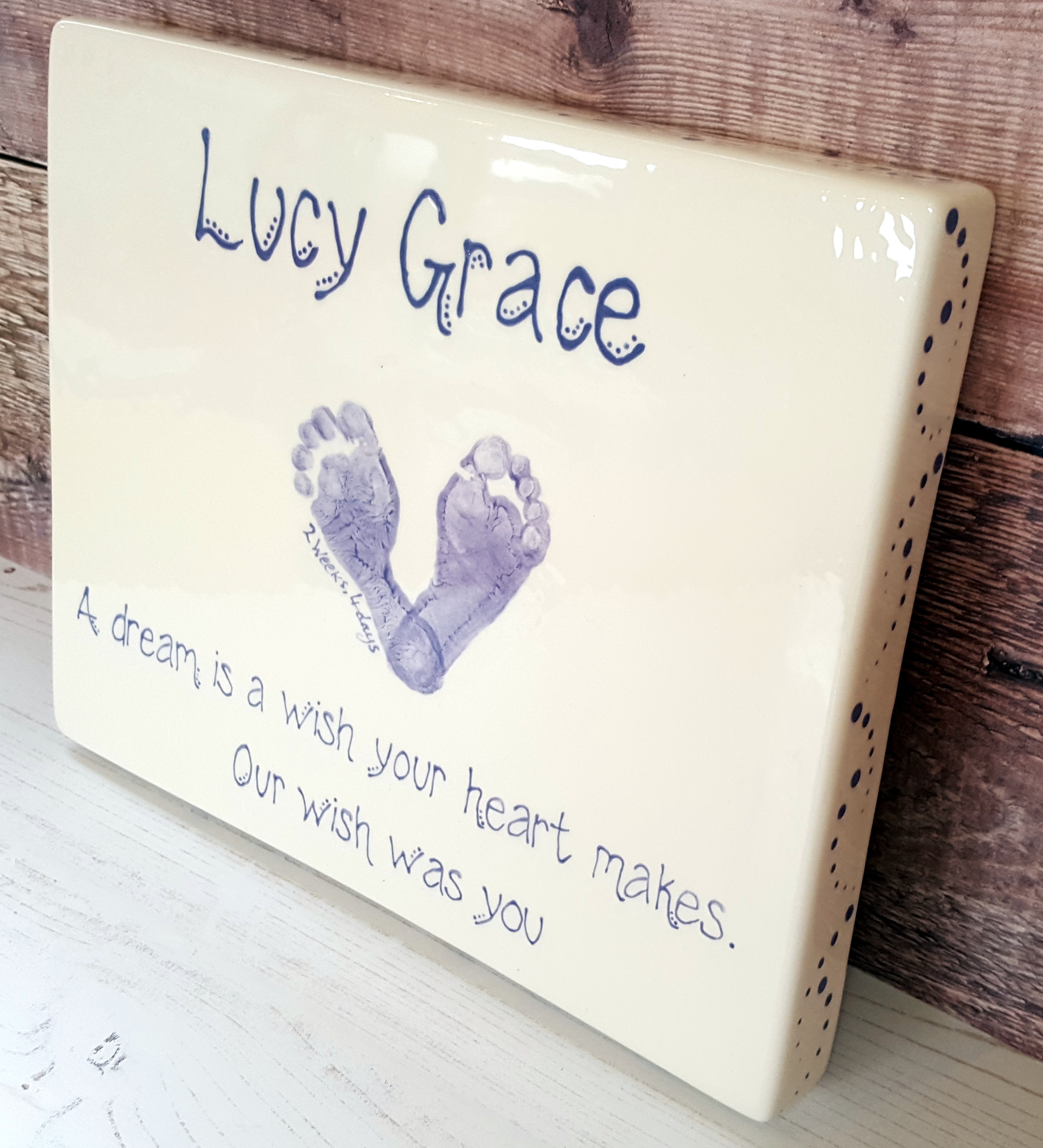 Ceramic Canvas - Lucy Grace - a Dream is a wish - Side View
