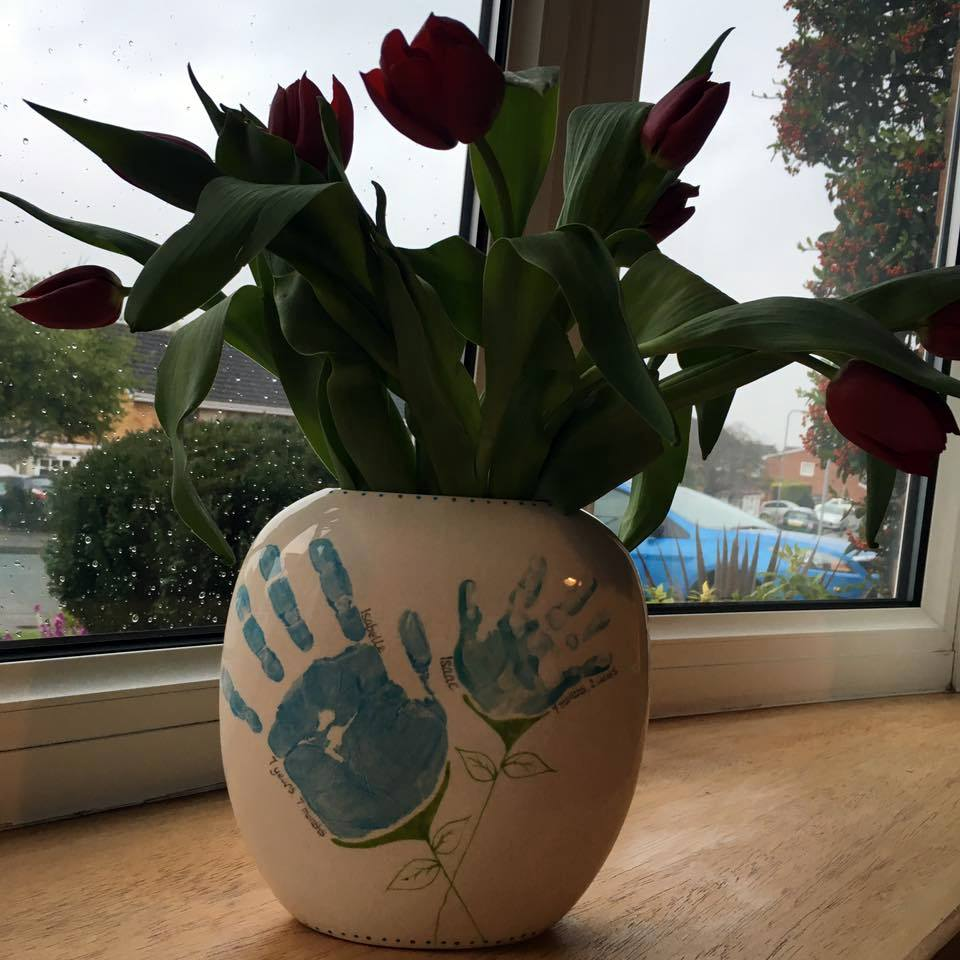 Large Pebble Vase - Blue Handprint Flowers - Isabelle & Isaac - Louise Clayton 2