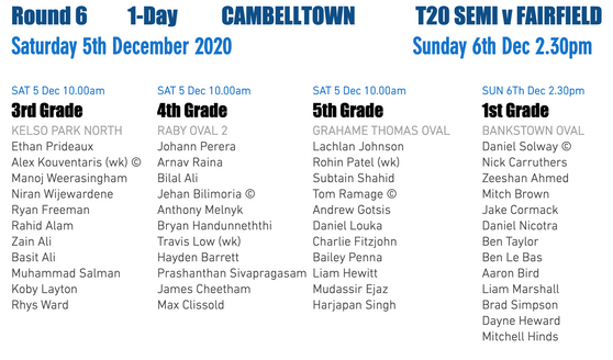 Teams announced T20 Semi / 3s, 4s & 5s