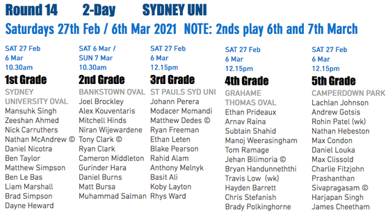 Teams announced for Round 14