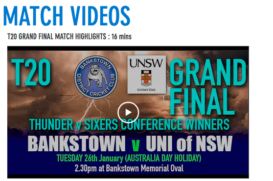 T20 Grand Final video highlights