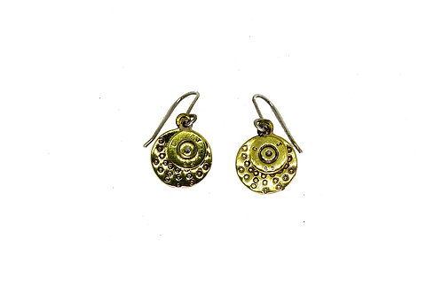Recycled bullet and brass disk earring