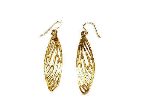 Dragonfly brass earrings