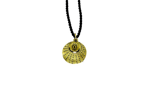 Recycled bullet pendant with dotty disk